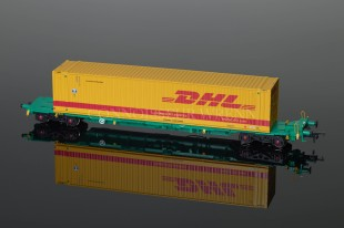 Bachmann Itermodal Bogie Wagon C/W 45Ft Container DHL (x2) ref. 37-305